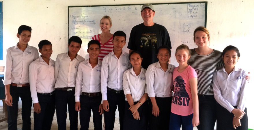 """Dr. C's family with Cambodian teaching staff"""